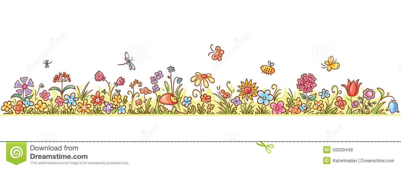 Horizontal Cartoon Flower Border Colorful Lots Flowers Grass Butterflies No Gradients 50030449